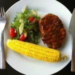 Συνταγή από Jenny για Pork chops με γλυκιά Bourbon σως και corn on the cob