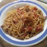 Σπαγγέτι με πορτσίνι/ντομάτα